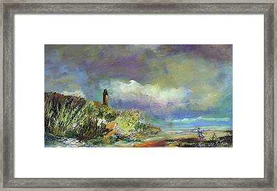 Lighthouse And Fisherman Framed Print