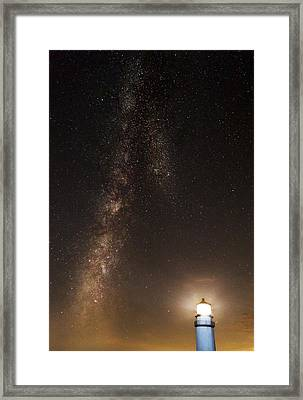 Lighthouse And Milky Way Framed Print
