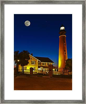 Lighthouse And Moon Framed Print by Alex Mironyuk