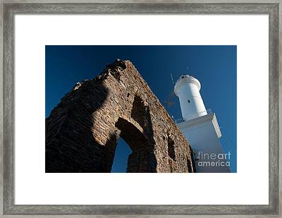Lighthouse And Ruin Of The Convento De San Fransisco In Colonia - Uruguay Framed Print by OUAP Photography