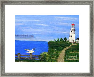 Lighthouse And Seagull  Framed Print by Mindy Bench