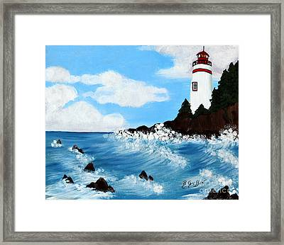 Lighthouse And Sunkers Framed Print by Barbara Griffin