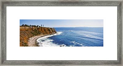 Lighthouse At A Coast, Point Vicente Framed Print