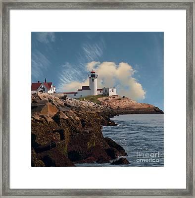 Lighthouse At Cape Ann's Harbor Framed Print