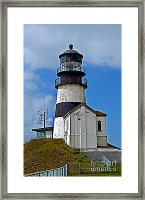 Lighthouse At Cape Disappointment Washington Framed Print by Valerie Garner