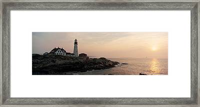 Lighthouse At Coast, Portland Head Framed Print by Panoramic Images