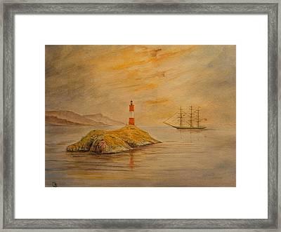 Lighthouse At Cornwall Framed Print by Juan  Bosco