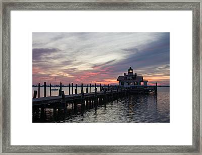 Framed Print featuring the photograph Lighthouse At Dawn by Gregg Southard