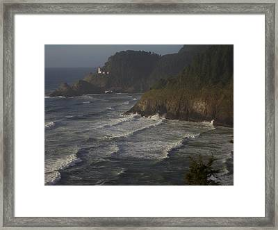 Lighthouse At Dusk Framed Print by Yvette Pichette