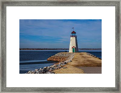Lighthouse At East Wharf Framed Print