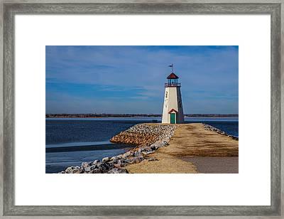 Lighthouse At East Wharf Framed Print