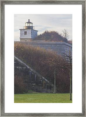 Lighthouse At Fort Rodman Framed Print