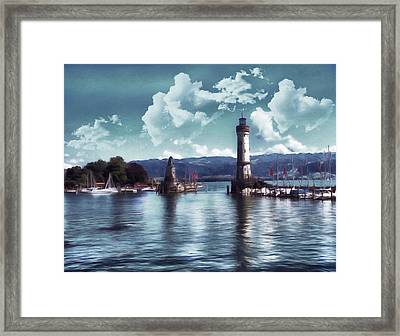 Lighthouse At Lindau Framed Print