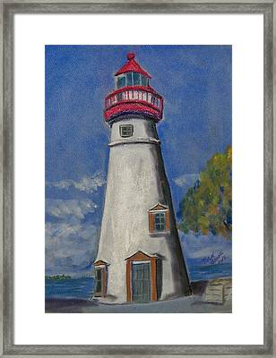 Lighthouse At Marblehead Framed Print by Richard Goohs