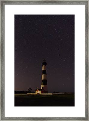 Framed Print featuring the photograph Lighthouse At Night by Gregg Southard