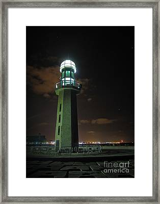 Framed Print featuring the photograph Lighthouse At Night by Mohamed Elkhamisy