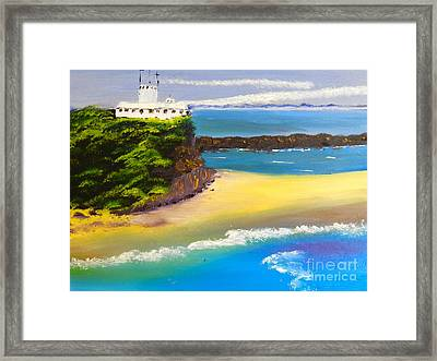Framed Print featuring the painting Lighthouse At Nobbys Beach Newcastle Australia by Pamela  Meredith