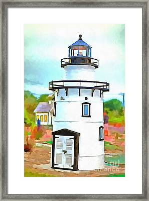 Lighthouse At Old Saybrook Point Framed Print by Edward Fielding