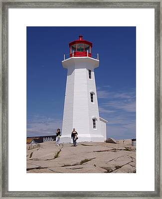 Lighthouse At Peggy's Cove Framed Print by Brenda Anne Foskett