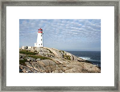 Lighthouse At Peggys Point Nova Scotia Framed Print