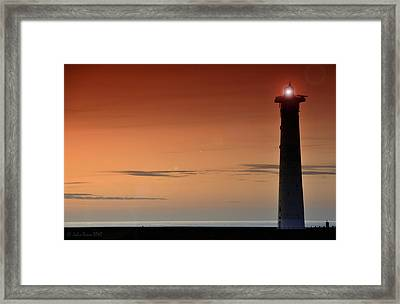 Framed Print featuring the photograph Lighthouse At Sunrise by Julis Simo
