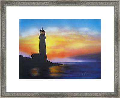 Framed Print featuring the painting Lighthouse At Sunset by Chris Fraser