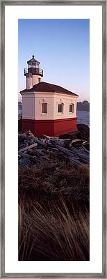 Lighthouse At The Coast, Coquille River Framed Print