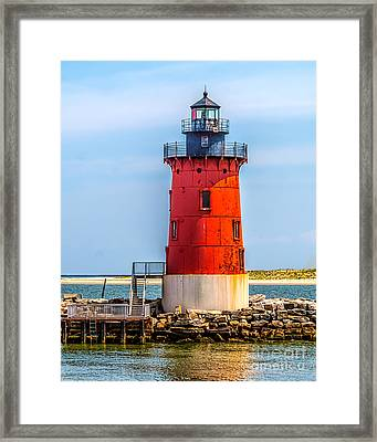 Lighthouse At The Delaware Breakwater Framed Print