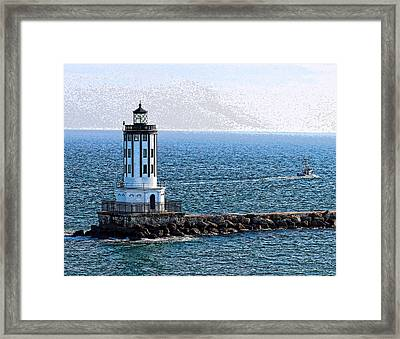 Lighthouse At The Port Of Los Angeles Framed Print