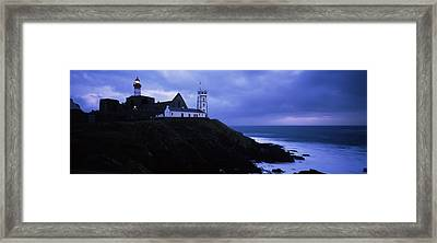 Lighthouse At The Seaside, Pointe Saint Framed Print by Panoramic Images