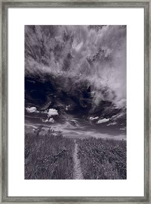 Lighthouse Beach Dunes Bw Framed Print by Steve Gadomski