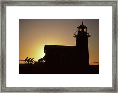 Lighthouse, Bicycling, Sunset, Santa Framed Print