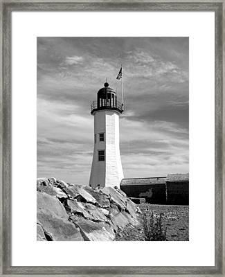 Lighthouse Black And White Framed Print
