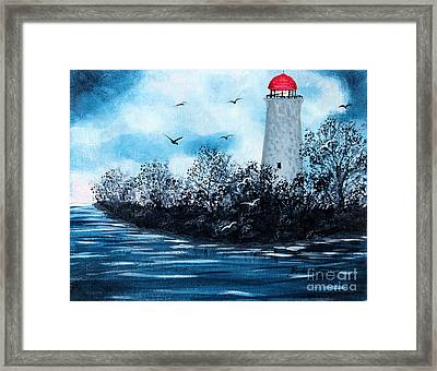 Lighthouse Blues Framed Print by Barbara Griffin