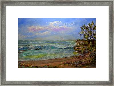 Lighthouse By The Lake Framed Print by Michael Mrozik