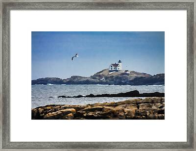 Lighthouse Coastal View Framed Print by Jeff Folger