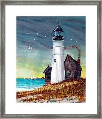 Framed Print featuring the painting Lighthouse by Debbie Baker
