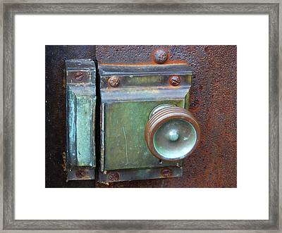 Lighthouse Door Latch Framed Print by David T Wilkinson