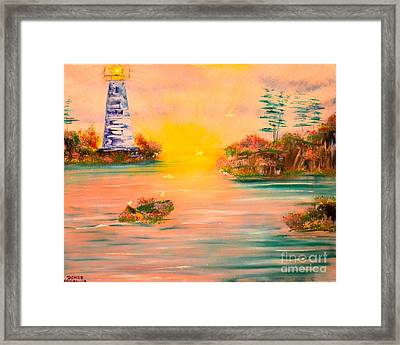 Framed Print featuring the painting Lighthouse For Mom by Denise Tomasura