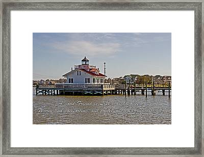Good Friend At The Roanoke Lighthouse  Framed Print by Tom Gari Gallery-Three-Photography