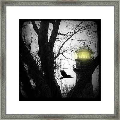 The Lighthouse Is Lit  Framed Print by Gothicrow Images