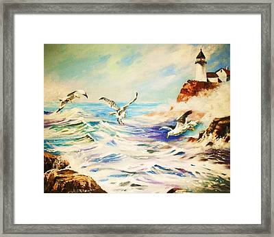 Lighthouse Gulls And Waves Framed Print