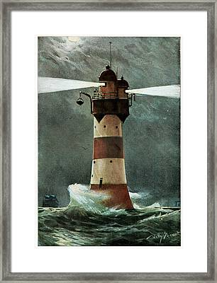 Lighthouse In A Storm Framed Print