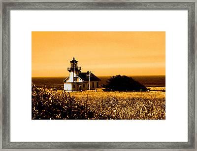 Lighthouse In Autumn Framed Print
