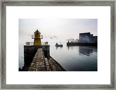 Lighthouse In Reykjavik Harbor, Harpa Framed Print