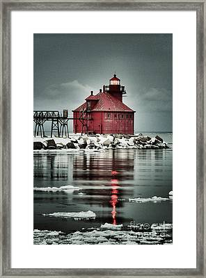 Lighthouse In The Darkness Framed Print