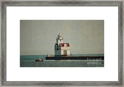 Lighthouse In The Evening - Manitowoc Framed Print