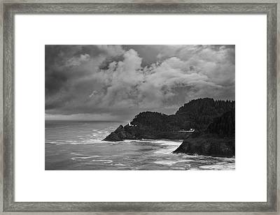 Lighthouse In The Storm Framed Print by Andrew Soundarajan