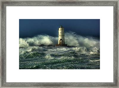 Lighthouse In The Storm Framed Print by Gianfranco Weiss