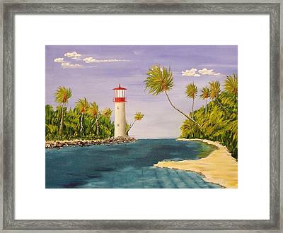 Lighthouse In The Tropics Framed Print